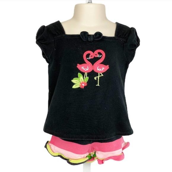 Gymboree Stripe Short Black Flamingo T-Shirt 2T